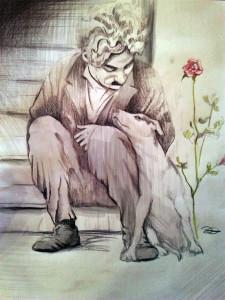 Charlie Chaplin - pastelli su carta