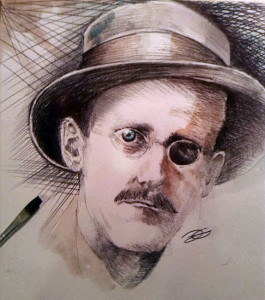 James Joyce -Inchiostro e acquerello su cartonicno
