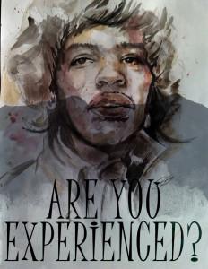 The Jimi Hendrix Experience - tecnica mista su carta