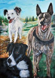Ritratto di cani - Tecnica mista su tela - 50x70 cm