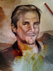 Christian Bale, ritratto Tecnica mista su carta