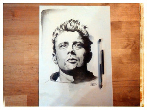 James Dean - Inchiostro e carboncino su carta