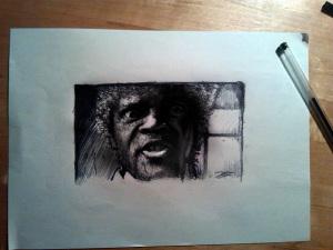 Samuel L. Jackson - Ritratto  - Inchiiostro su carta